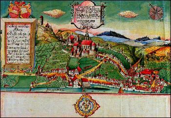 Kolorierte Stadtansicht gefertigt von dem Horber Geometer Alois Fischer 1787