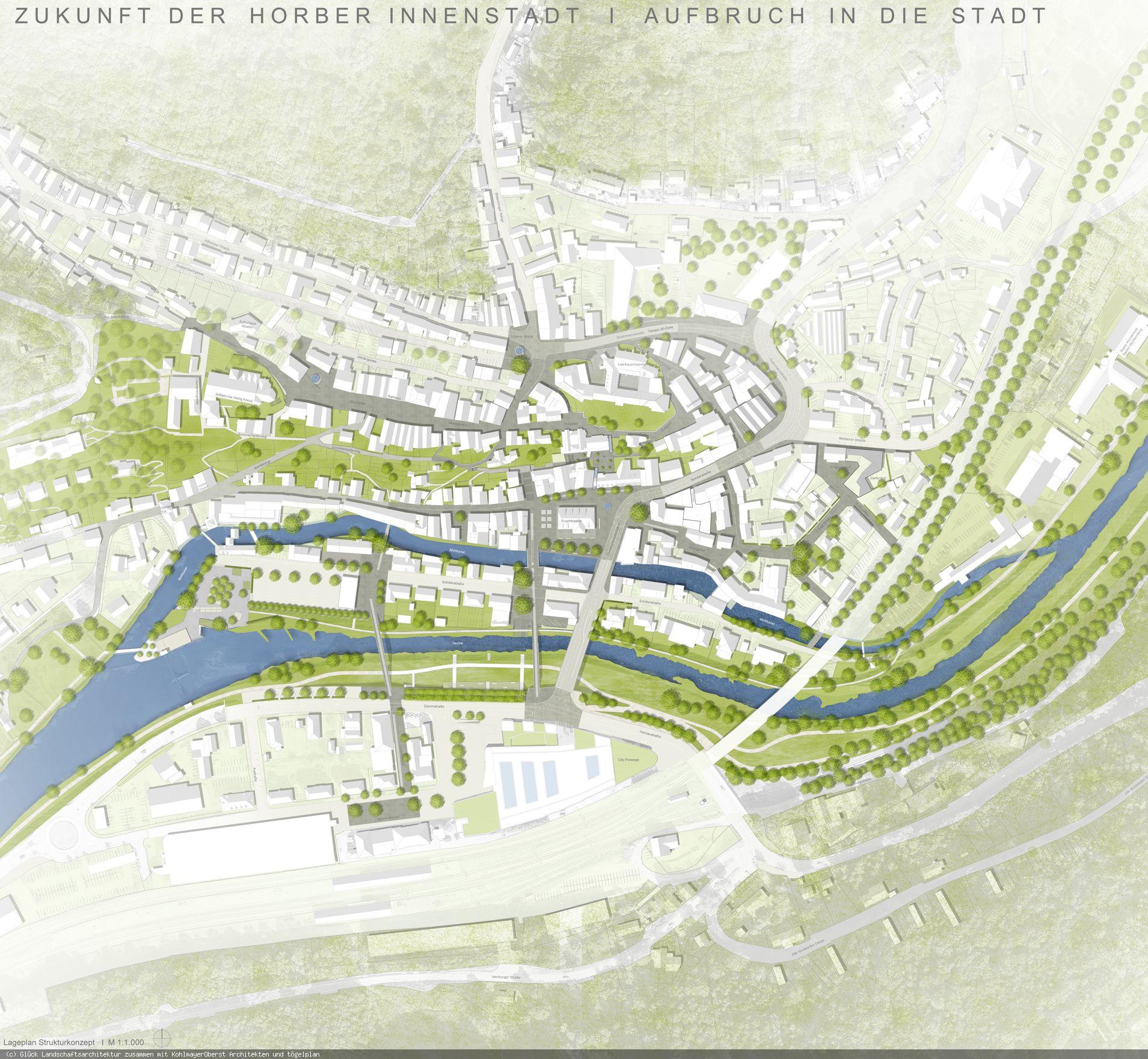 Innenstadtwettbewerb Visualisierung (Grafik: Glück Landschaftsarchitektur zusammen mit KohlmayerOberst Architekten und tögelplan)