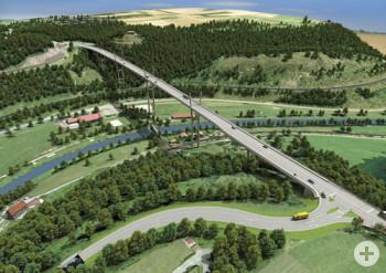 Blick auf die Einmündung am südlichen Widerlager der Neckartalbrücke