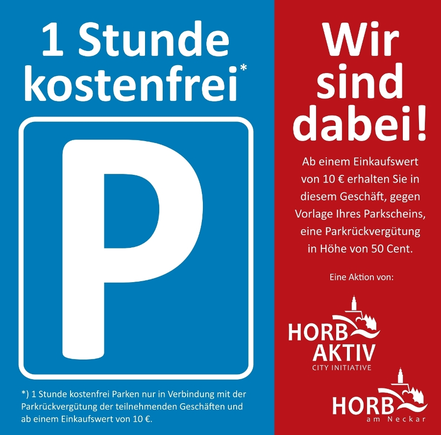 1 Stunde kostenlos Parken