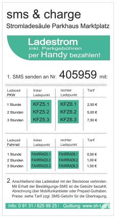 Stromladesäule SMS-Laden_Parkhaus_Marktplatz