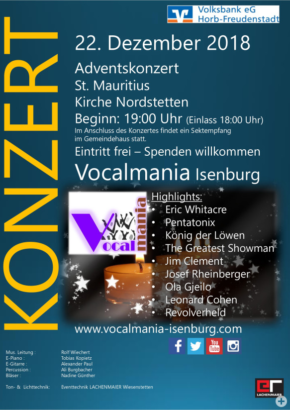 Vocalmania Adventskonzert 2018