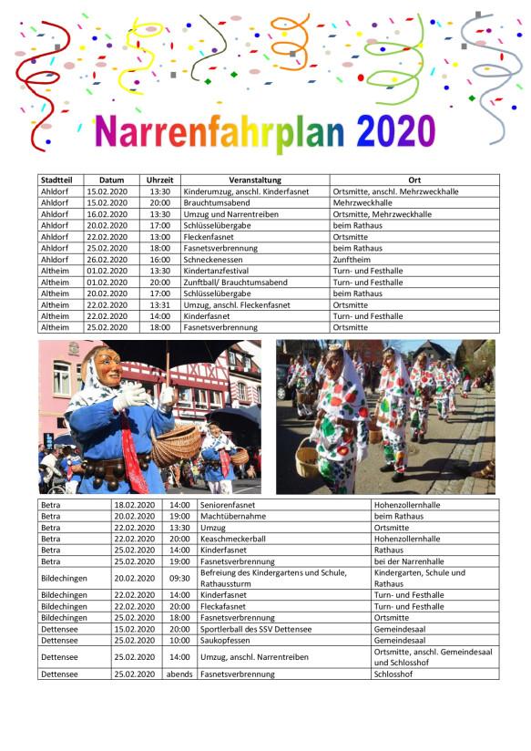 Narrenfahrplan 2020 Seite 1
