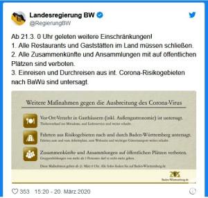 Twitter-Meldung der Landesregierung
