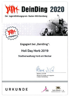 Urkunde DeinDing 2020 JGR