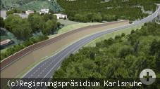 Visualisierung Hochbrücke-Brückenzufahrt und Lärmschutz im Bereich Nordstetten