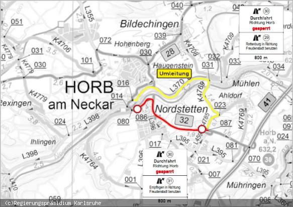 Karte Umleitung B 32