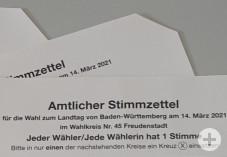 Landtagswahl Stimmzettel abgeschnittenes Eck