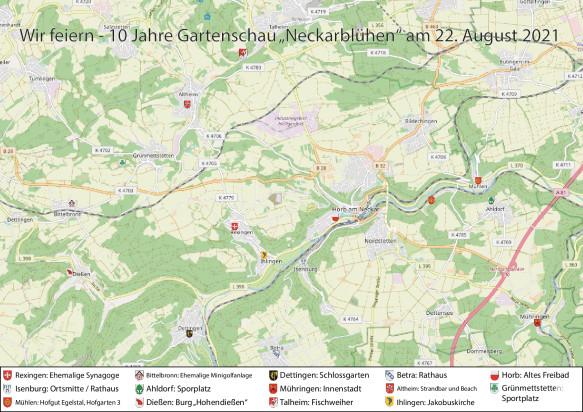 Übersichtskarte 10 Jahre Neckarblühen Ortsteie