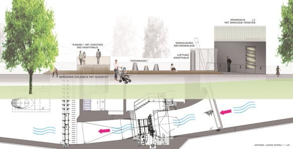 Flusskraftwerk Horb. Grafik: Schmelzle + Partner Architekten BDA